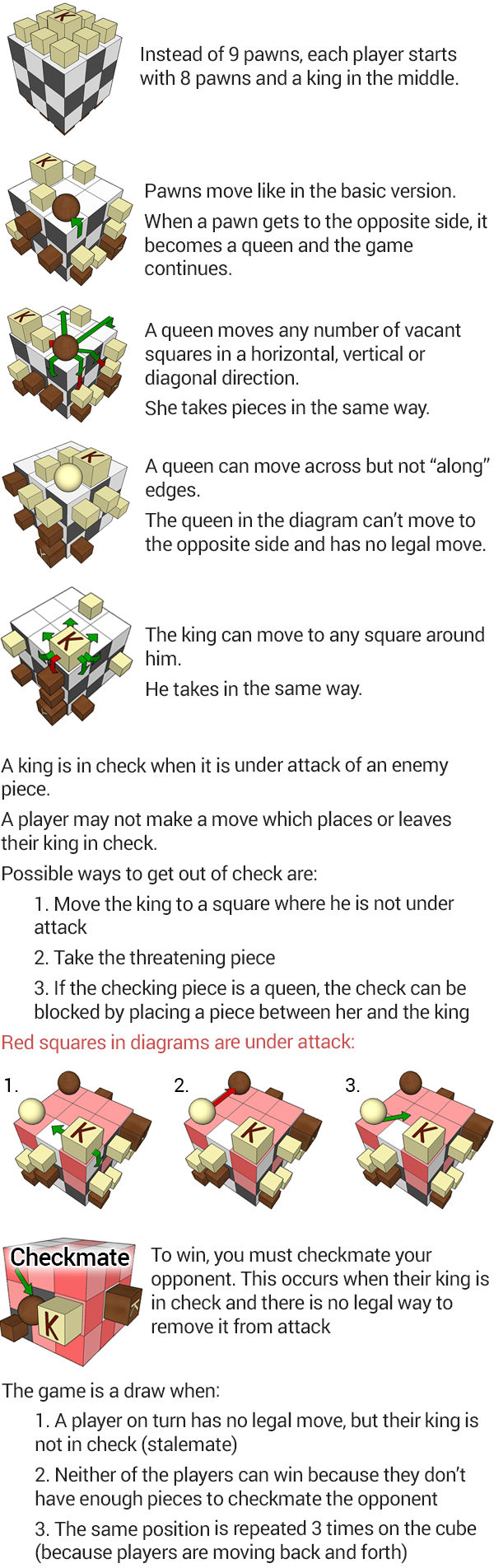 Rules for 3D Pawn - checkmate expansion - mobile version